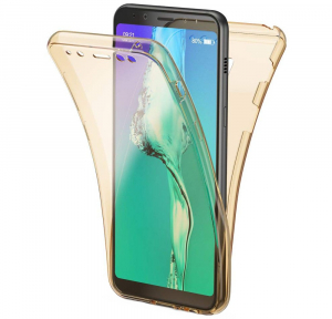 Husa Full TPU 360 fata + spate Samsung Galaxy A8 (2018), Gold transparent