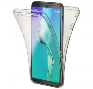 Husa Full TPU 360 fata + spate Samsung Galaxy A8 Plus (2018), Gri transparent