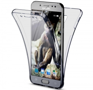 Husa Full TPU 360 fata spate Samsung Galaxy J5 (2017), Gri Transparent