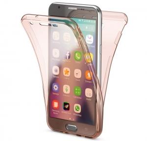 Husa Full TPU 360 fata spate Samsung Galaxy J5 (2017), Rose Gold Transparent