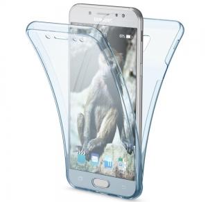 Husa Full TPU 360 fata spate Samsung Galaxy J7 (2017), Albastru Transparent