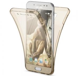 Husa Full TPU 360 fata spate Samsung Galaxy J7 (2017), Gold Transparent