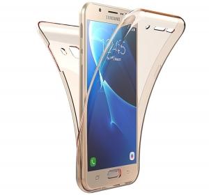 Husa Full TPU 360 fata spate Samsung Galaxy J7 Prime, Gold Transparent