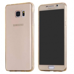 Husa Full TPU 360 (fata + spate) Samsung Galaxy Note 5, Gold Transparent