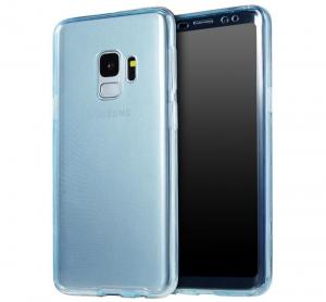 Husa Full TPU 360 fata + spate Samsung Galaxy S9, Albastru Transparent