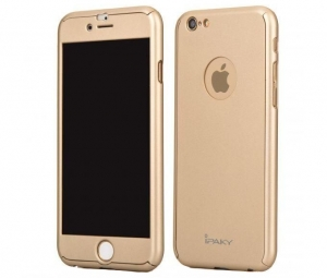 Husa iPaky 360 + folie sticla iPhone 6 / 6S, Gold