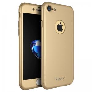 Husa iPaky 360 + folie sticla iPhone 7, Gold