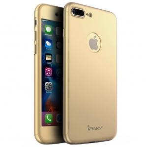 Husa iPaky 360 + folie sticla iPhone 7 Plus, Gold