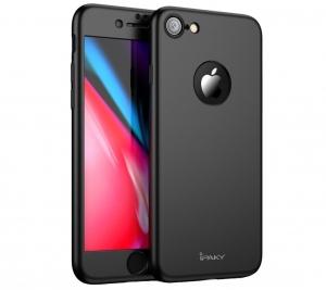 Husa iPaky 360 + folie sticla iPhone 8, Black