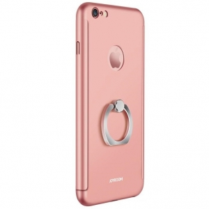 Husa Joyroom 360 Ring + folie sticla iPhone 6 / 6S, Rose Gold