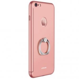 Husa Joyroom 360 Ring + folie sticla iPhone 6 Plus / 6S Plus, Rose Gold