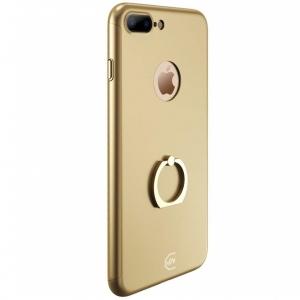 Husa Joyroom 360 Ring + folie sticla iPhone 7 Plus, Gold