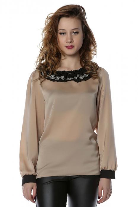 Bluza eleganta din matase cu guler aplicat si mansete B119