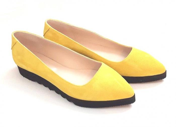 Balerini din piele Yellow Cora