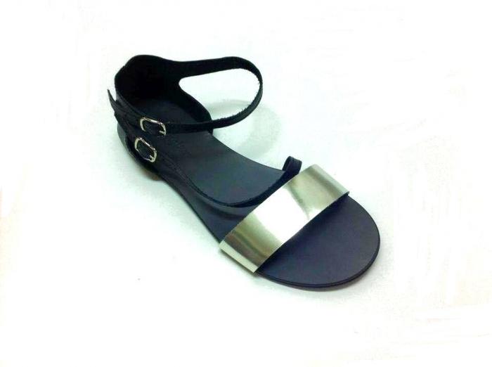 Sandale dama din piele Black and Silver Anna