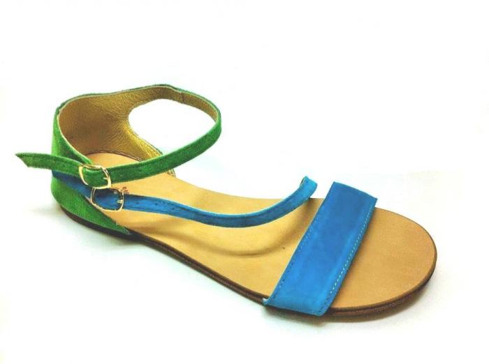 Sandale dama din piele Green and Blue Velvet Anna