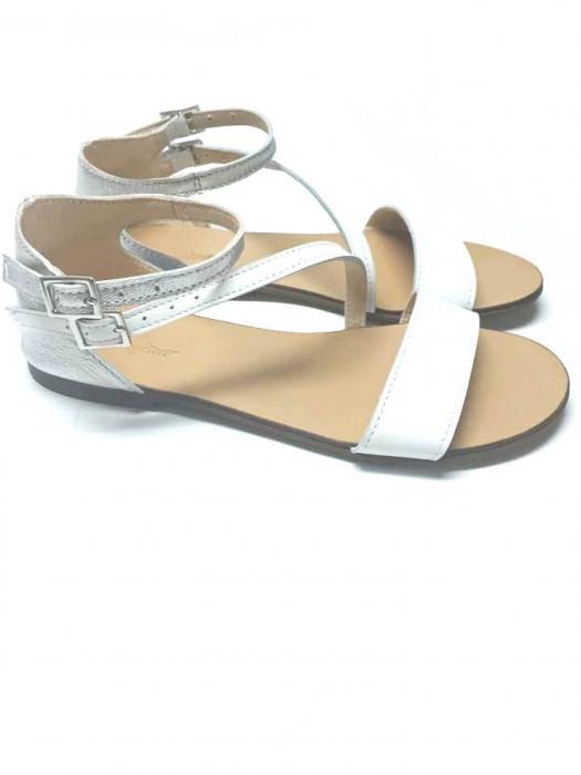 Sandale dama din piele White and Silver Anna