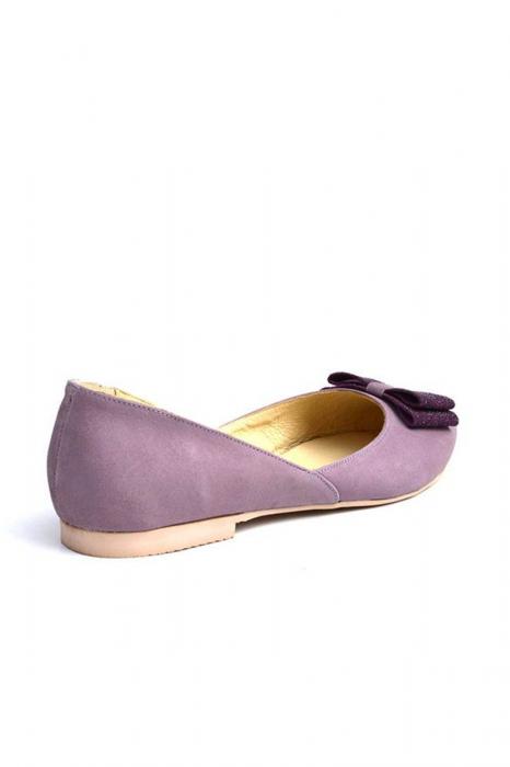 Balerini dama din piele intoarsa Purple Bow