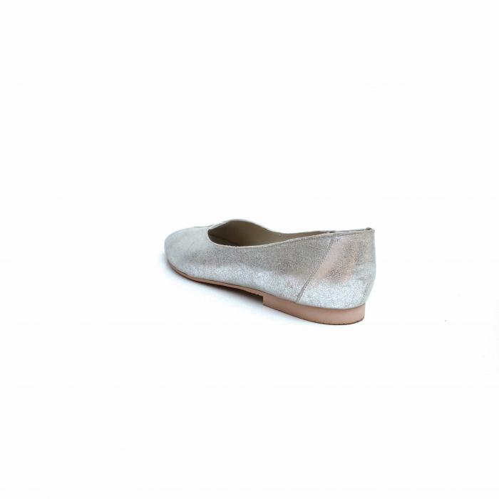 Balerini dama din piele texturata Silver