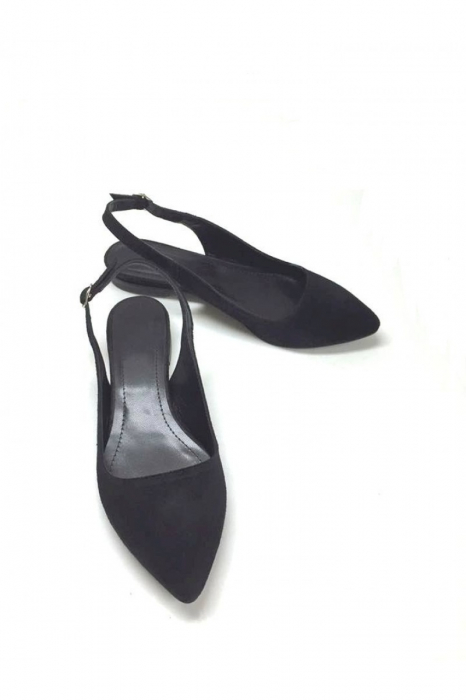 Balerini decupati din piele Black Velvet Lia