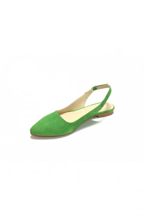 Balerini decupati din piele Lia Velvet Green, 37