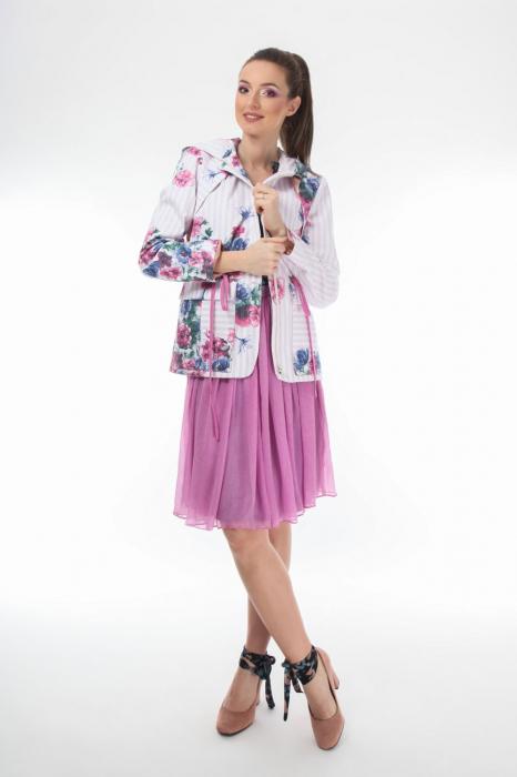 Jacheta dama parka din bumbac cu imprimeu floral
