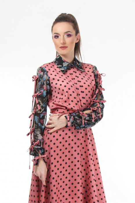 Bluza office roz din voal mixed prints