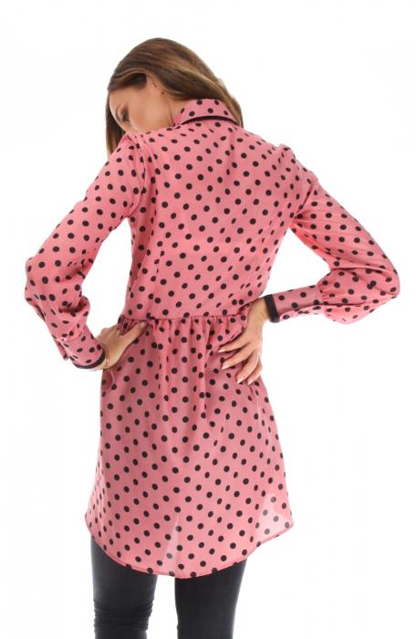 Camasa casual cu maneci lungi roz cu buline
