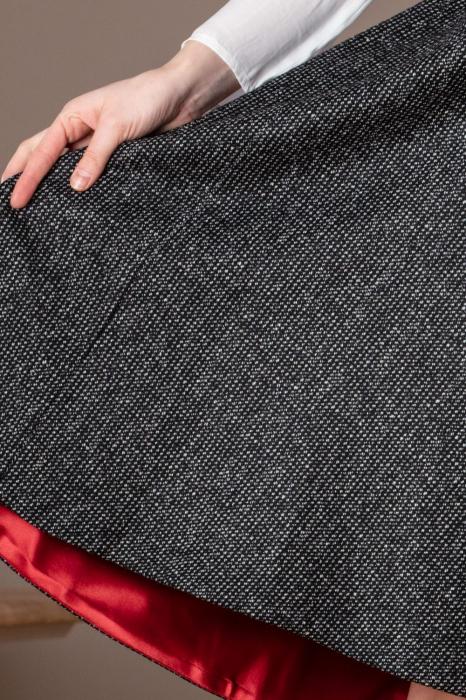 Fusta casual asimetrica din lana pipit Aleka