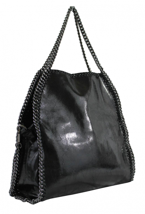 Geanta casual din piele naturala Black Chain