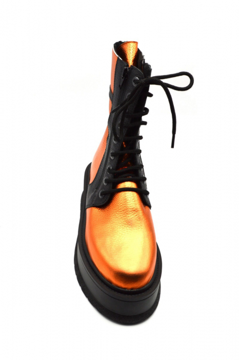 Ghete din piele naturala cu platforma Metal Orange