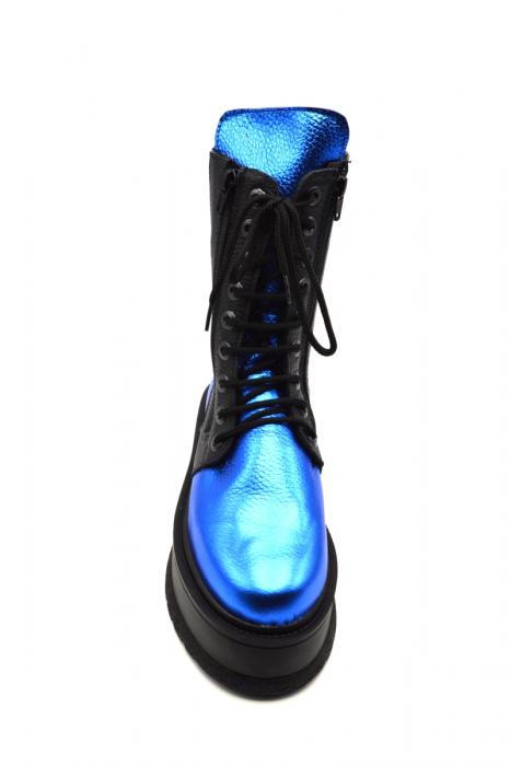 Ghete din piele naturala cu platforma Metal Blue