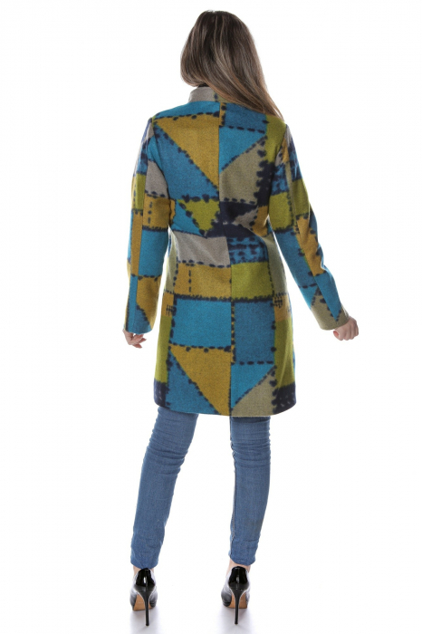 Palton dama din stofa verde multicolor PF47
