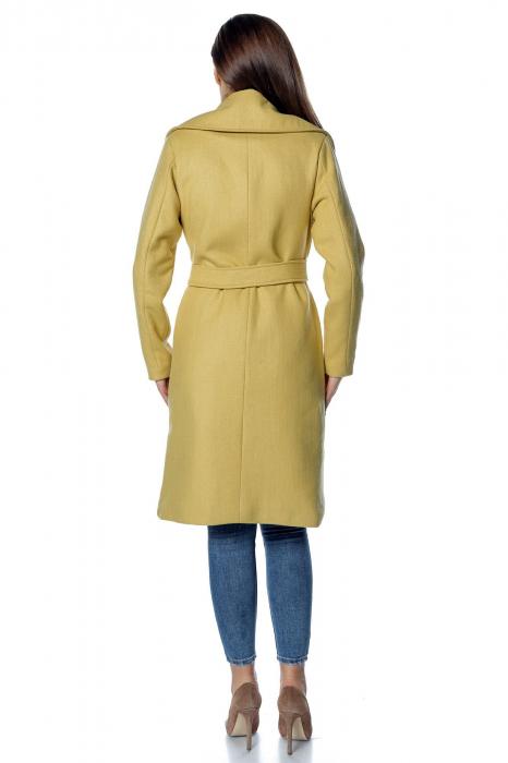 Palton galben dama din stofa cu broderie PF34