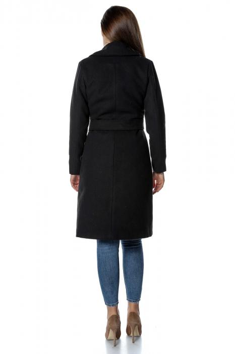 Palton negru dama din stofa cu aplicatii brodate PF39