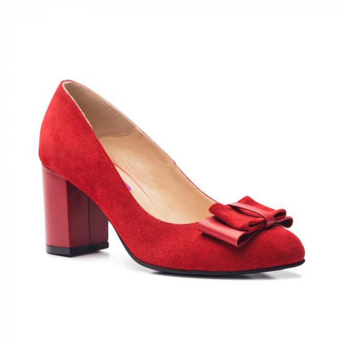 Pantofi cu toc gros rosii din piele si funda decorativa