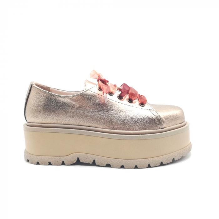Pantofi dama cu platforma Metal Gold