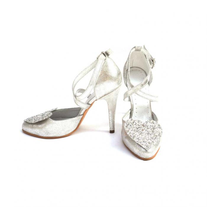 Pantofi dama cu toc Silver Heart din piele naturala