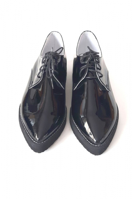 Pantofi dama Oxford din piele naturala Black Mirror, 38