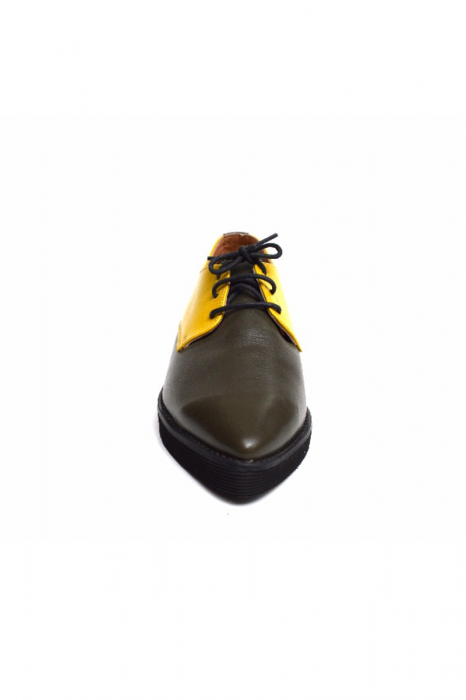 Pantofi dama Oxford din piele naturala Yellow Mirror