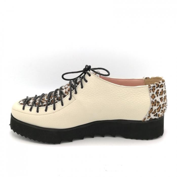 Pantofi dama tip Oxford Beige Pony Laces