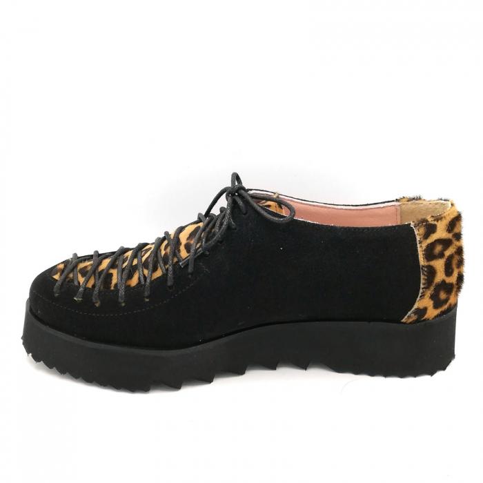 Pantofi dama tip Oxford Black Velvet Pony Laces