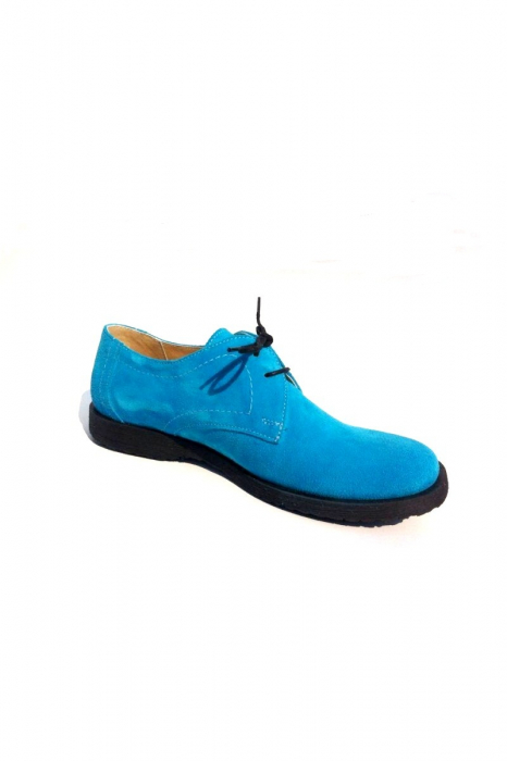 Pantofi din piele intoarsa Pax Turquoise