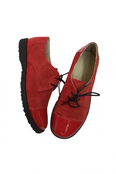 Pantofi din piele Oxford Pam Red, 37