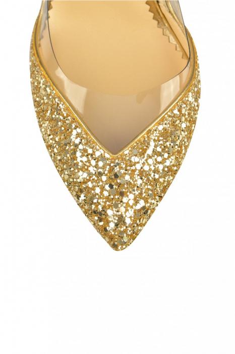 Pantofi Mihai Albu Gold Glitter Pumps