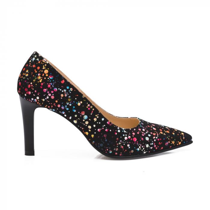 Pantofi stiletto cu toc mediu din piele naturala cu imprimeu multicolor