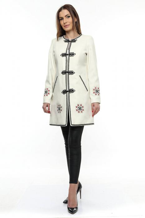 Palton dama alb stofa brodata PF19, XL