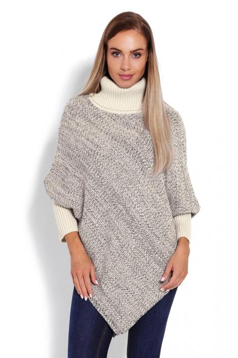 Poncho dama tricotat cu maneci lungi Beige