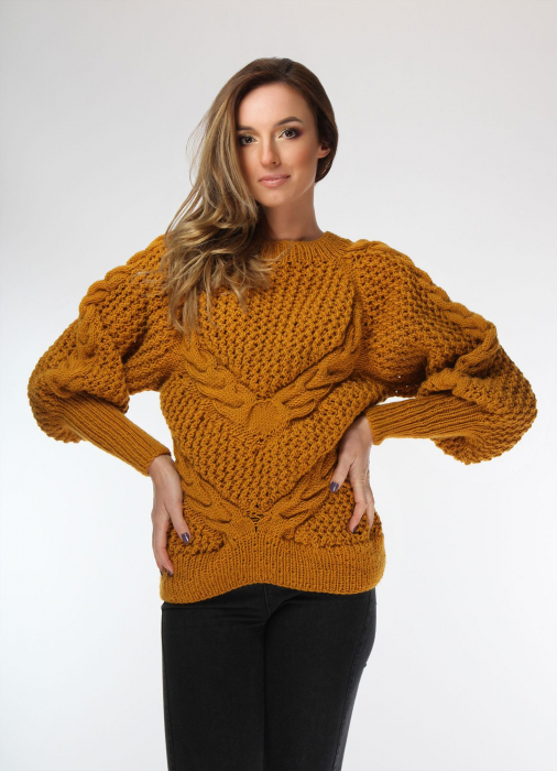 Pulover dama galben mustar tricotat manual cu opturi