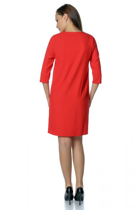 Rochie casual rosie cu dantela aplicata pe decolteu RO271